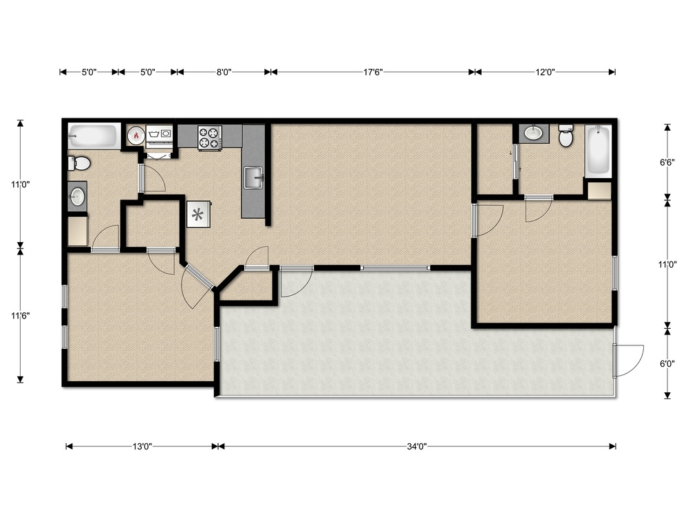 la serena parque 2 bedroom floorplan